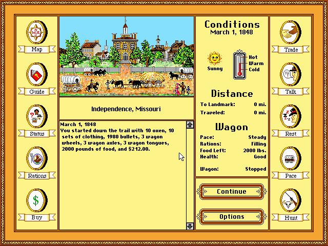 Screenshor do Oregon Trail, que teve versões para Macintosh, MS-Dos, Apple II... E hoje pode ser encontrado até em Android, iOS e na eShop.