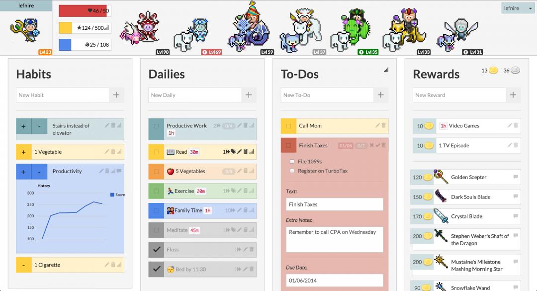 Jogo de RPG que combina funções de aplicativos de produtividade e motivação pessoal