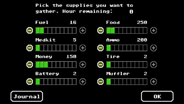 Cada barrinha selecionada consome parte das 12 horas que você tem para juntar recursos antes de partir