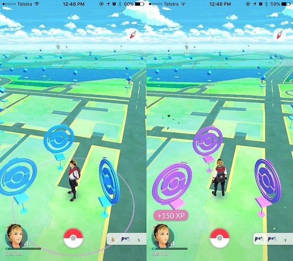 guia de pokemon go - Pokestops de cor violeta significam que você já passou por ali e pegou todos os itens disponíveis, por enquanto.